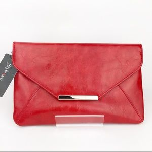 Style&co Red Leather Envelope Clutch Handbag
